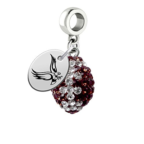 Boston College Eagles Crystal Football Drop Charm Fits All European Style Bracelets