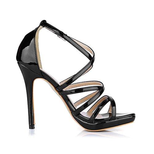 Strap Cross Open Women Black Sexy CHMILE Pearl Sandals Dress Stiletto Toe High Shoes Heels CHAU Ladies v5q5w8P