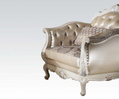 Acme Furniture 53542 Chantelle Chair w/1 Pillow, Rose Gold PU/Fabric & Pearl White by Acme Furniture