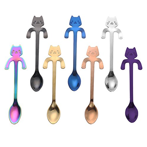 ZBGOROW 7-Piece Durable 18/8 Stainless Steel Spoon Set - Cute Cat Spoons for Dessert and Coffee - Multi-purpose Mirror Finish Spoons - Set of 7 in 7 Assorted Colors, 4.5 Inches ()