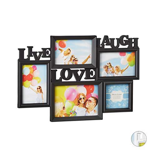 Relaxdays Marco de Fotos Multiple Colgante Live Love Laugh, Plastico, Negro, 31 x 45 5 x 2 cm