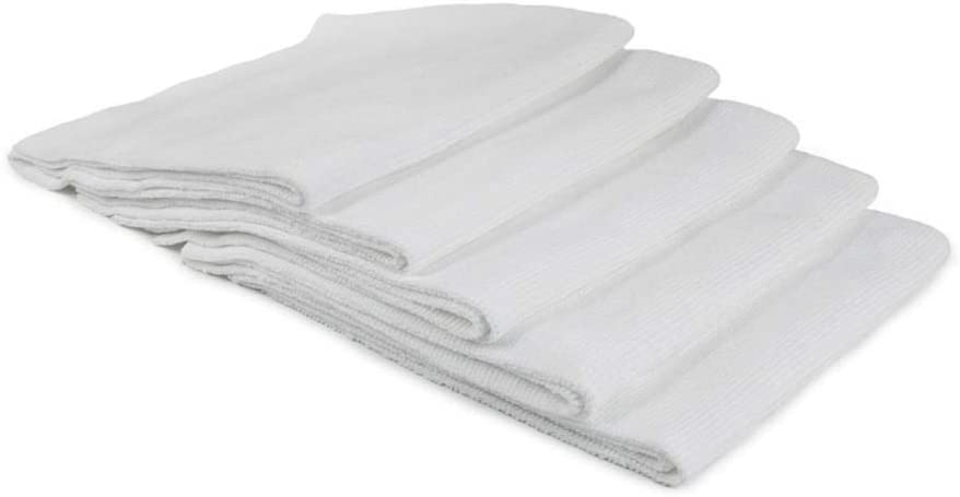 Buffmaster - 5 Pack 16 in. x 16 in, 400 GSM Microfiber Polish and Buffing Towel White