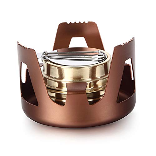 Leoie Outdoor Camping Alcohol Stove Water Tea Boiling Stove Burner Picnic Cooking Tool Bronze