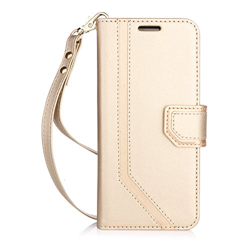 FYY Leather Case with Mirror for Samsung Galaxy S8, Leather Wallet Flip Folio Case with Mirror and Wrist Strap for Samsung Galaxy S8 Gold