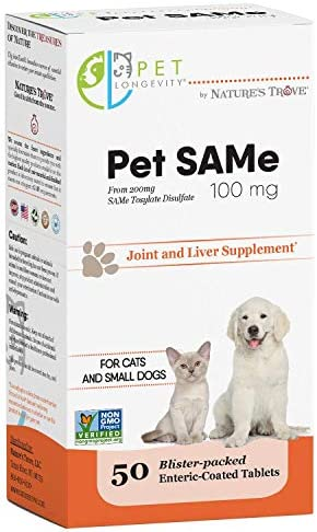 Pet Longevity Same 100 mg Pet Supplements Liver and Joint Support for Cats, Small Dogs with Elevated Enzymes S Adenosyl Methionine – 50 Gluten Free Enteric Coated Tablets Non GMO Certified