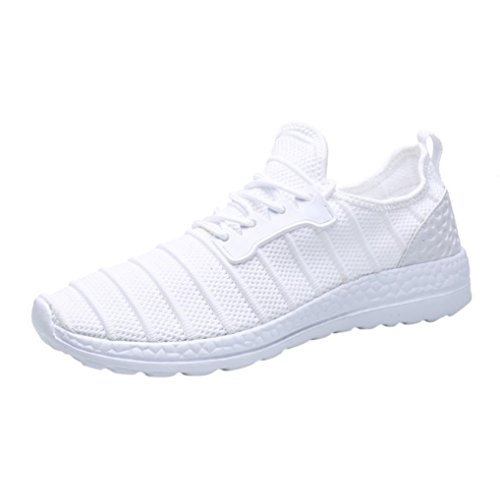 VEMOW Sports Outdoor Shoes for Men Women, Trainers Flats Flip Flops Thongs Espadrilles Wedge Running Walking, Summer Sneakers Beathable Mesh Shoes Lace-up Travel Couple Shoes White