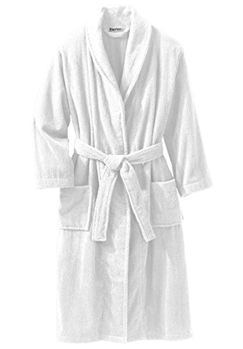 Kingsize Men's Big & Tall Terry Bathrobe With Pockets, White Big-3Xl/4X Tall Terry Cloth Robes