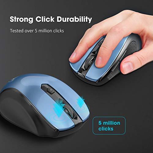 Multifunctional Wireless Mouse Cimetech 2.4G Cordless Mouse for Laptop with USB Receiver Comfortable Click Computer Mice 6 Buttons Optical Mouse Black