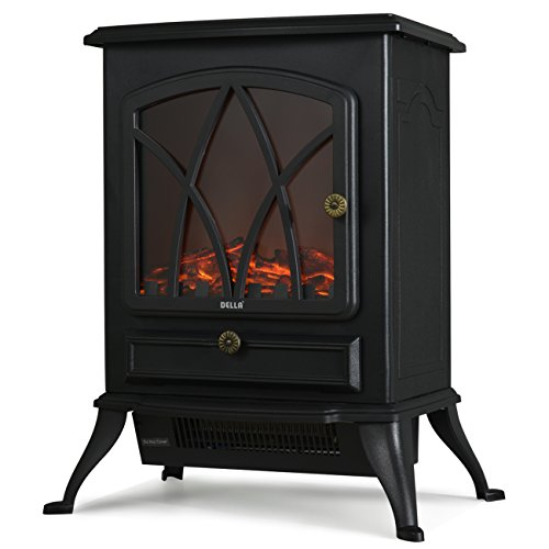 Della Portable Freestanding 21 inch Electric Fireplace Stove with Heater 1500W, Black