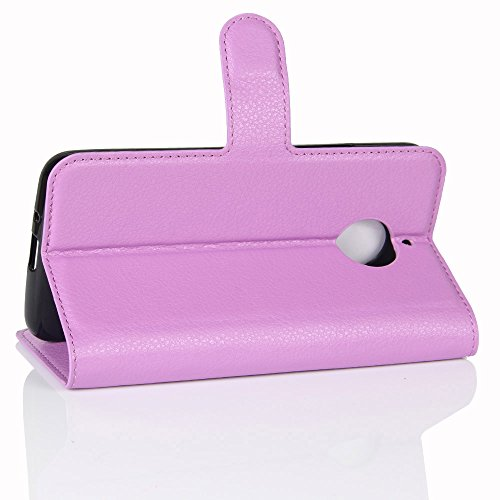 Lusee® PU Caso de cuero sintético Funda para Motorola Moto E4 Plus XT1773 5.0 Pulgada Cubierta con funda de silicona violeta violeta