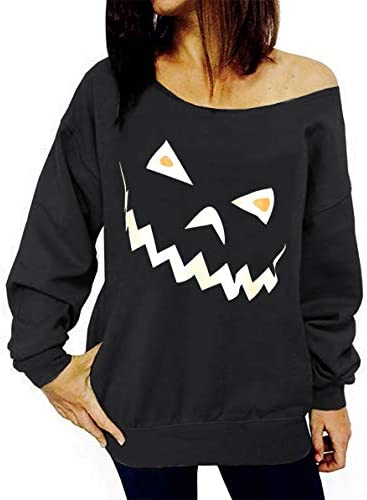 KIDDAD Women Halloween SweatshirtPumpkin Face Printing One Off Shoulder Slope Design Shirt for Lady