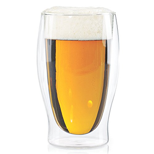 Wine Enthusiast Steady-Temp Double Wall Beer Glasses (Set of 4), Clear For Sale