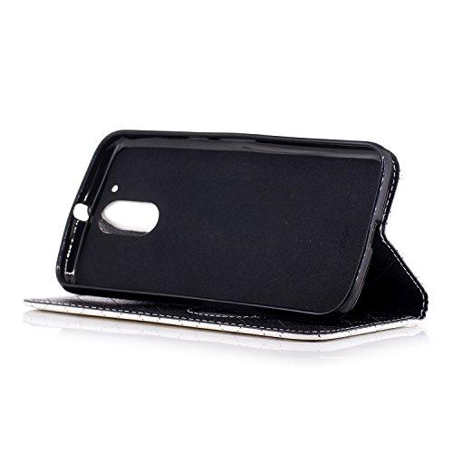Para Moto G4 funda, (Amor oro) El amor golpeó el color de cuero de la PU Leather cubierta ,Función de Soporte Billetera con Tapa para Tarjetas correa de mano soporte para teléfono Amor blanca