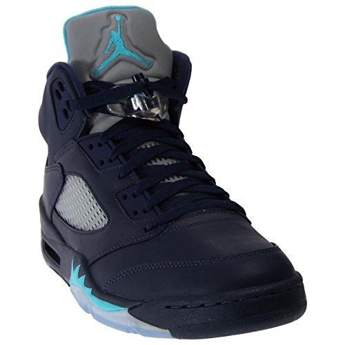 Nike Jordan Men's Air Jordan 5 Retro Midnight Navy/Trqs Blue/White Basketball Shoe 12 Men US