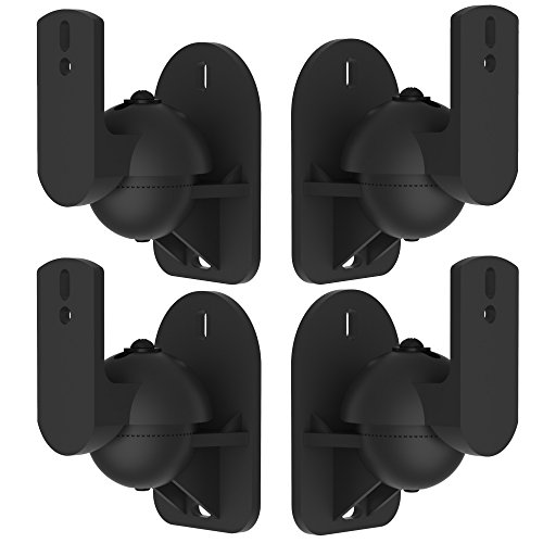 VonHaus Black Universal Wall Mount Speaker Brackets x 4 Universal Single Speaker Mount