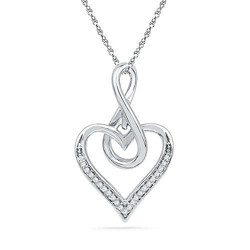 (Sonia Jewels 10k White Gold Round Diamond Infinity Heart Love Pendant 1/12 Cttw)