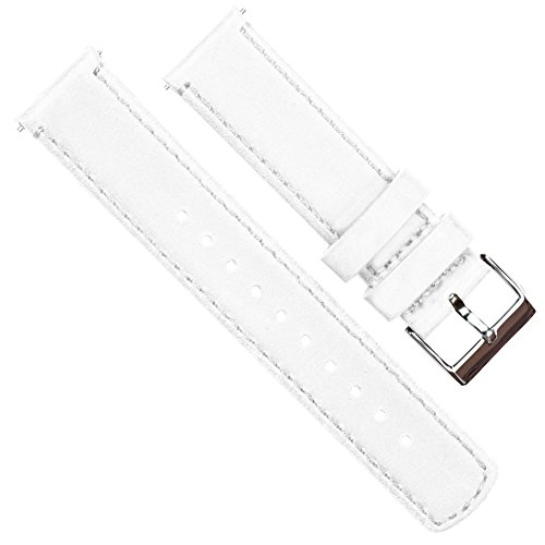 Barton Quick Release - Top Grain Leather Watch Band Strap - Choice of Width - 16mm, 18mm, 19mm, 20mm, 21mm 22mm, 23mm or 24mm - White 20mm