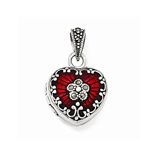 Marcasite Heart Locket Pendant - Sterling Silver Red Enamel & Marcasite Heart Locket (1.02 in x 0.63 in)