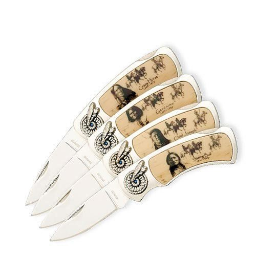 Inlay Indian American Native (K EXCLUSIVE Four-Piece Founding Fathers Pocket Knife Set - Four Folders - Stainless Steel Blades, Decorative Native American Indian Chief Handle Art, Wooden Display Box - Length 4 1/4
