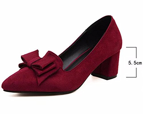 Pumps heel Mid On Bowknot Dress Slip Suede Block Shoes ANBOVER Womens Burgundy Classic Work qW7nAg