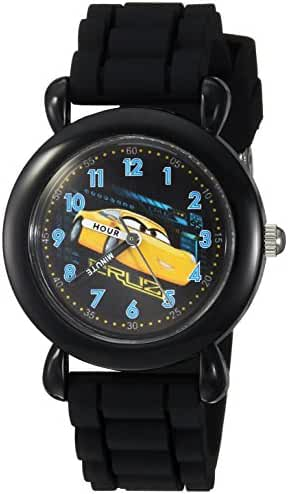 Disney Boy's 'Cars 3' Quartz Plastic and Silicone Casual Watch, Color:Black (Model: WDS000303)