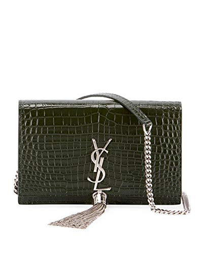 5efc933eed Saint Laurent Kate Monogram YSL Tassel Croco Wallet on Chain Bag - Miroir  Hardware made in