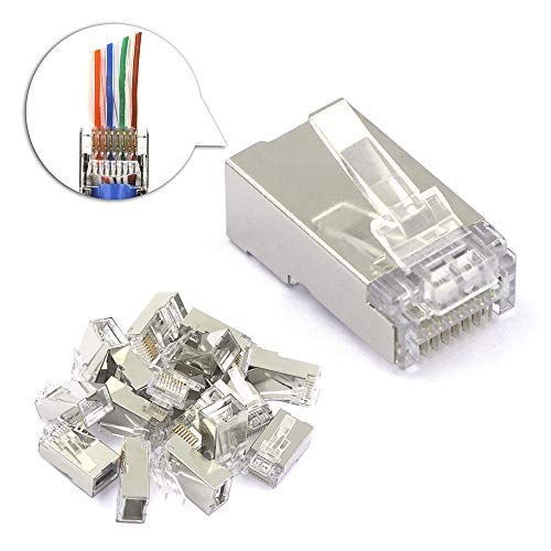 [UL Listed] VCE 50 PCS Nickel Plated Shielded RJ45 8P8C CAT6 Connector End Pass Through 3 Prong Ethernet Modular Plug
