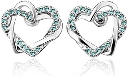 Fashion Crystal Double Love Heart Platinum Plated Stud Earrings Women-Guillermo B.Randle