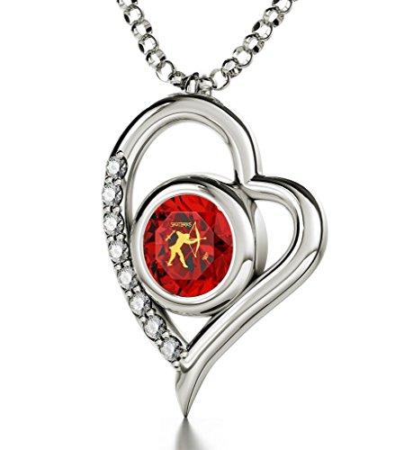 925 Silver Zodiac Heart Pendant Sagittarius Necklace Inscribed in 24k Gold on Red Swarovski Crystal, 18