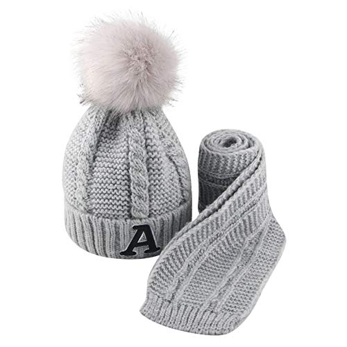 Diadia Baby Pom Pop Hat Winter Toddler Hats Knitted Hemming Fur Ball Wool Skullies Beanies Ear Guard Baby Hat Kids Boy Hats Knitted Hemming Cap Beige