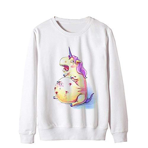 Autunno White Size Unicorno Eleganti Libero Style Sweatshirts Maglione 12 Ragazze Invernali O Maniche Donna Tempo Lunghe color Camicetta collo Festa Giovane Felpa Moda L Jumper pq815gww