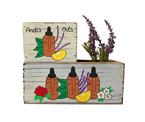 Essential Oil Display Bin and Decorative Box (Hand Painted Lavender Planter)