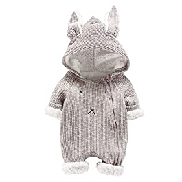 Infant Newborn Baby Boys Girls Zipper Cartoon Rabbit 3D Ear Hoodie Jumpsuit Romper Bodysuit Warm Clothes Outfits