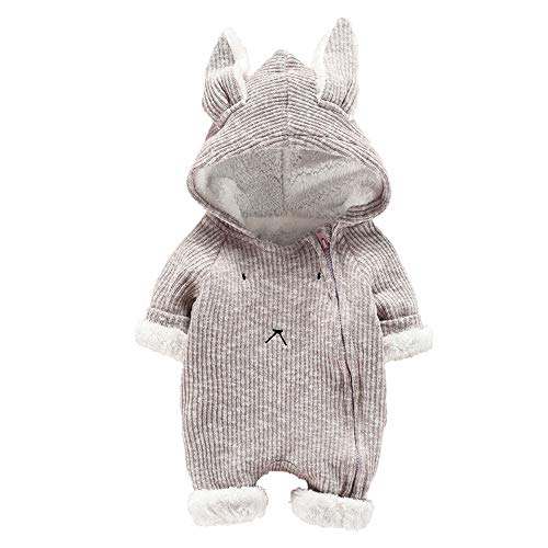 Suma-ma Clearance Winter Plus Plush Solid Bunny Hoodie Romper Outfit for Infant Newborn Baby Boys Girls 6-24M -