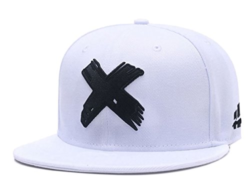 Quanhaigou Embroidered X Snapback Hats for Men and Women Adjustable Hip Hop Boy Baseball Cap White