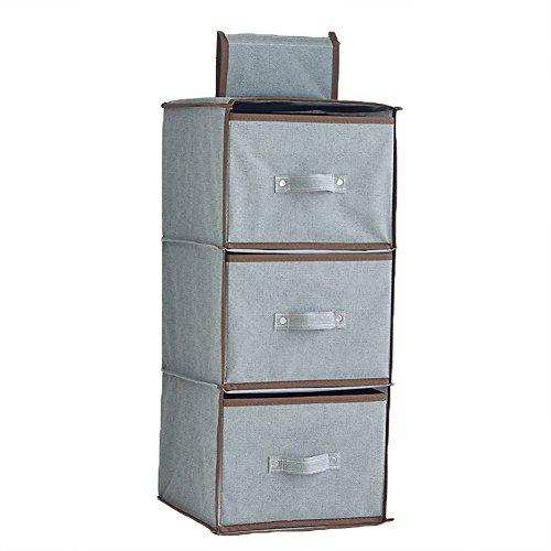 Aobeau 3 Shelf Hanging Closet Organizer with 3 Drawers Clothing Bra Accessories Storage Sweater Storage Bins ()
