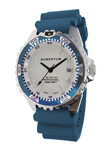 Women's Quartz Watch | M1 Splash by Momentum| Stainless Steel Watches for Women | Dive Watch with Japanese Movement & Analog Display | Water Resistant ladies watch with Date –Lume  / Teal Rubber