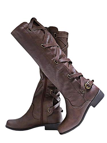 High Boots Extra Knee Wide Calf - Syktkmx Womens Winter Lace Up Strappy Knee High Motorcycle Riding Flat Low Heel Boots