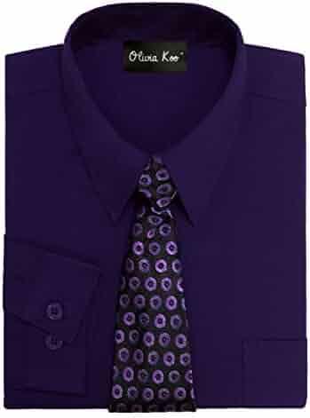 16f5da00e OLIVIA KOO Boys Kids Long Sleeve Solid Color Dress Shirts with Matching  Windsor Tie Set