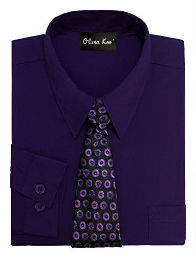 OLIVIA KOO Boys Kids Long Sleeve Solid Color Dress Shirts With Matching Windsor Tie Set,Purple,3T