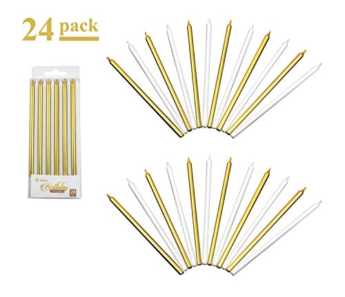 24 Count Gold and White Long Birthday Cake Candles with Holders | Each Tall Slender Candle Measures 5.5 Inches High (14 cm) | Festive Wedding Anniversary Celebration Décor Birthday Party Decoration