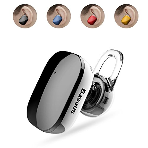 Bluetooth Headphones, Baseus V4.1 Touch Key Design Wireless Earbud Mini Headset with Noise Cancelling Mic for iPhone and Android Smart Phones with Removable Ear-hook (Black)