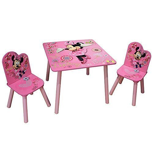 DISNEY MINNIE MOUSE WOODEN TABLE U0026 CHAIRS GIRLS PINK FURNITURE SET XMAS GIFT