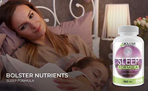Bolster Nutrients - Natural Sleep Aid Pills for Peaceful Sleep | No Addiction - No Side Effects | Vegan Pills | Herbal Sleeping Complex with Bromelain, Lavender, Grape Seeds, Wild Green Oats(60 Caps)