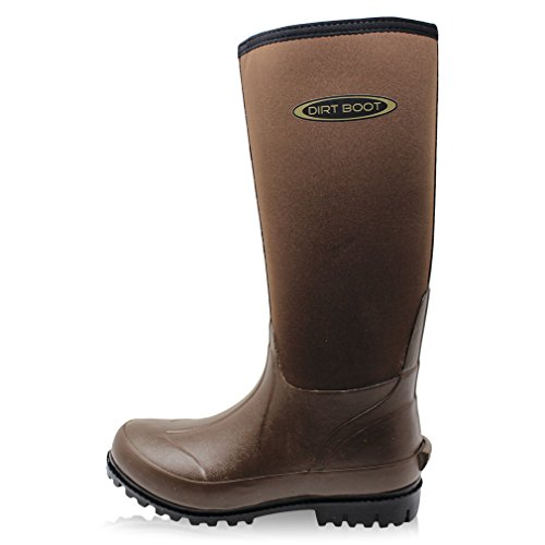 DIRT BOOT Neoprene Wellington Muck Boots Ladies Mens Brown B9qZM