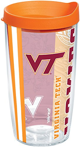 Tervis 1216266 Virginia Tech Hokies College Pride Tumbler with Wrap and Orange Lid 16oz, Clear