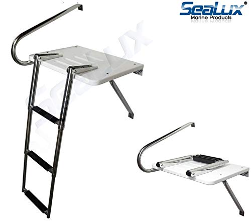 SeaLux Marine Outboard Fiberglass Swim Platform with Over TOP Mount 3-Step Ladder