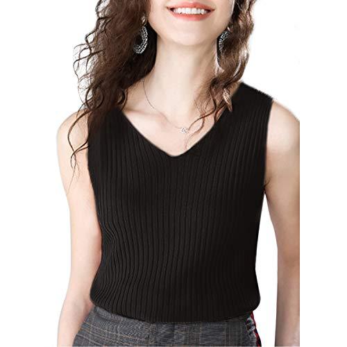 ZingineW Women's Camisole Stretch Casual Tank Tops Knitwear Soft V Neck Knit Short Slim Sweater