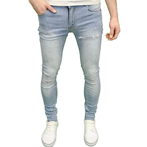 Soulstar Mens Designer Branded Stretch Super Skinny Fit Ripped Jeans (34W x 30L, Light Blue) (Super Skinny Rip Jeans)