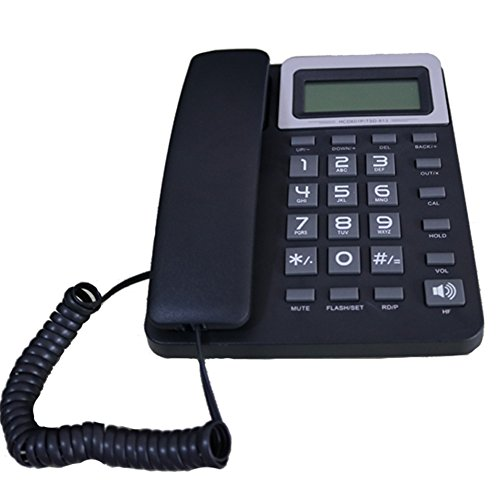 KerLiTar K-P40B Corded Phone with Caller ID Speakerphone Calculator Alarm Home Office Desk Phone Landline(Black)